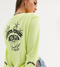 Santa Cruz Horizon Long Sleeve T Shirt With Arm And Back Print In Washed Neon Green Exclusive To Asos