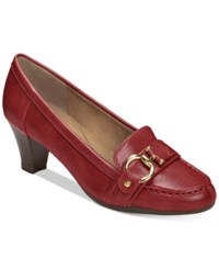 Aerosoles Seashore Kitten Heel Pumps Women's Shoes Dark Red