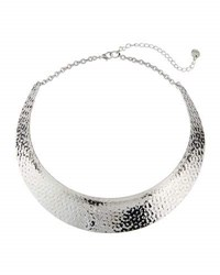 Lydell Nyc Rhodium Tone Hammered Collar Necklace Gray