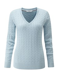 Henri Lloyd Sophia Cable V Neck Knit Sky Blue