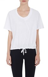 Skin Women's Spliced Drawstring T Shirt White