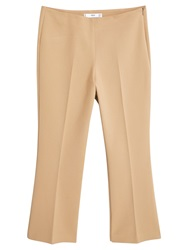 Mango Straight Cut Crop Trousers Medium Brown