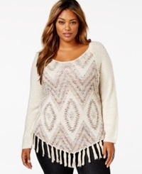 American Rag Plus Size Intarsia Fringe Sweater Only At Macy's
