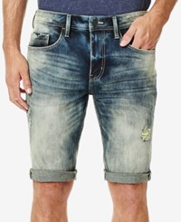 Buffalo David Bitton Men's Parker X Slim Fit Stretch Destroyed Denim Shorts Blasted And Fader