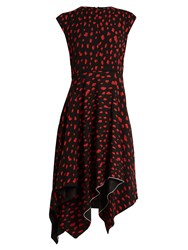 Proenza Schouler Leopard Print Silk Midi Dress Black Red