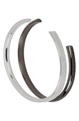 Stella Valle You Complete Me Set Of 2 Cuffs Silver
