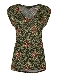 Biba V Neck T Shirt With All Over Floral Chevron Print Multi Coloured