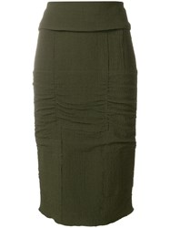 Tom Ford Panelled Pencil Skirt Green