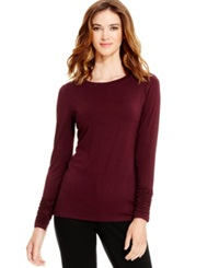 Alfani Long Sleeve Ruched Top New Wine