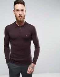 Asos Muscle Fit Knitted Polo With Logo In Merino Wool Plum Purple