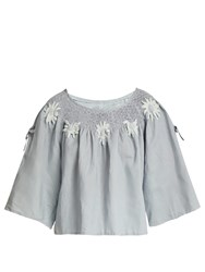 Innika Choo Floral Embroidered Linen Top Grey