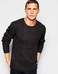 Cheap Monday Crew Jumper Chunky Knit Melange Charcoal