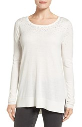 Nydj Women's Embellished Sweater Vanilla
