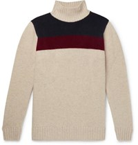 The Elder Statesman Colour Block Cashmere Turtleneck Sweater Off White