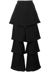 Osman Tiered Cropped Trousers Black