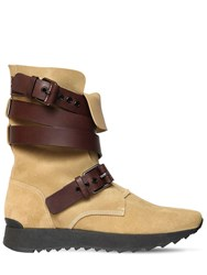 Loewe 30Mm Lace Up Suede Boots Beige Brown