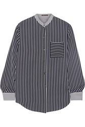Theory Ziria Striped Silk Chiffon Shirt Blue