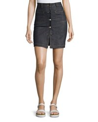 Carven High Waist Denim Mini Skirt Blue