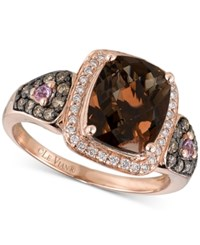 Le Vian Chocolatier Smoky Quartz 2 1 2 Ct. T.W. Diamond 1 3 Ct. T.W. And Pink Sapphire Accent Ring In 14K Rose Gold