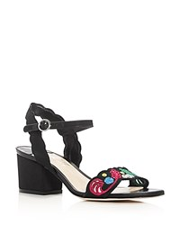 Isa Tapia Luisa Embroidered Fabric Block Heel Sandals Black
