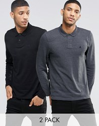 Asos Long Sleeve Pique Polo With Logo 2 Pack Save 16 Charcoal Black Multi