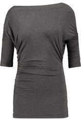 Bailey 44 Tapir Ruched Stretch Jersey Top Charcoal