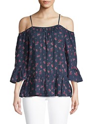Beach Lunch Lounge Cold Shoulder Bell Sleeve Floral Top Grey