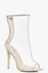 Boohoo Stiletto Peeptoe Clear Shoe Boot Nude