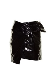 Isabel Marant Anders Faux Patent Leather Mini Skirt Black