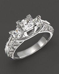 Bloomingdale's Princess Cut 3 Stone Ring In 14K White Gold 1.50 Ct. T.W. No Color