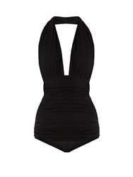 Norma Kamali Bill Halterneck Swimsuit Black