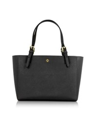 Tory Burch York Black Saffiano Leather Small Top Zip Buckle Tote