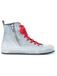 Ann Demeulemeester Painted Hi Top Sneakers Grey