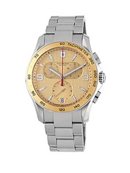 Victorinox Stainless Steel Chronograph Water Resistant Bracelet Watch Champagne