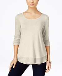 Styleandco. Style And Co. Chiffon Hem Three Quarter Sleeve Top Only At Macy's Stone Wall