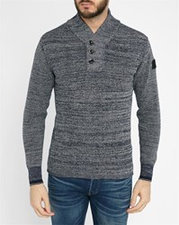 G Star Mottled Navy Dadin Shawl Collar Sweater Blue
