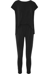 By Malene Birger Darliano Draped Stretch Crepe Jumpsuit Black