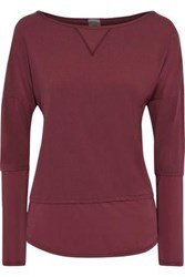 Iris And Ink Woman Sateen Paneled Stretch Jersey Top Burgundy