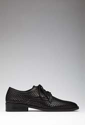 Forever 21 Perforated Faux Leather Oxfords Black