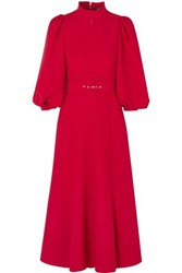 Andrew Gn Belted Crepe Midi Dress Red