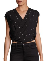 L'agence Lee Silk Crossover Star Print Blouse Black Ivory
