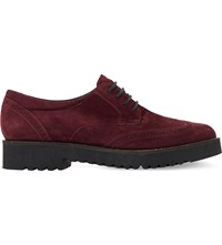 Dune Feean Lace Up Suede Brogues Burgundy Suede