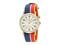 Timex Weekender Denim Slip Thru Strap Multicolor Gold Tone Cream Watches Mahogany