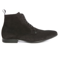 Kenzo Werny Black Suede Side Zip Laced Boots