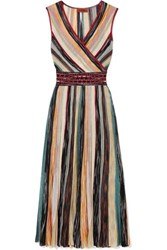 Missoni Wrap Effect Metallic Crochet Knit Silk Blend Midi Dress Blush