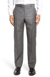 Hickey Freeman Men's Big And Tall Flat Front Solid Wool Trousers Grey Shark
