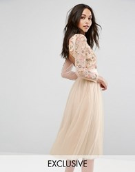Needle And Thread Ditsy Scatter Tulle Midi Dress Petal Pink