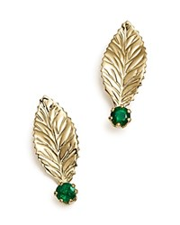 Bloomingdale's Emerald Leaf Earrings In 14K Yellow Gold Green Gold