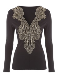 Jane Norman Black And Gold Long Sleeve Brocade Top