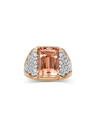Frederic Sage 18K Emerald Cut Morganite And Diamond Ring